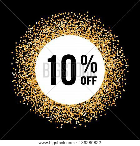 Golden Circle Frame on Black Background with Discount Ten Percent