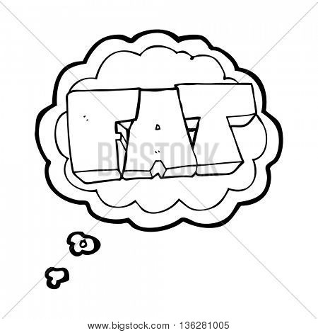 freehand drawn thought bubble cartoon FAT symbol