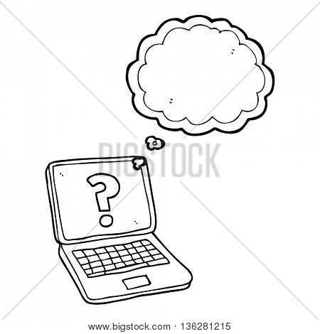 freehand drawn thought bubble cartoon laptop computer with question mark