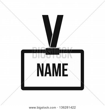Plastic Name badge with neck strap icon in simple style isolated on white background