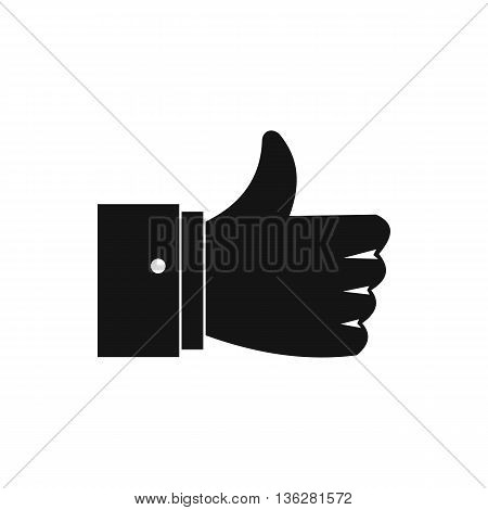Thumb up gesture icon in simple style isolated on white background