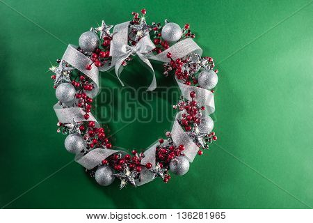 Christmas Wreath In Red With Silver Ribbon