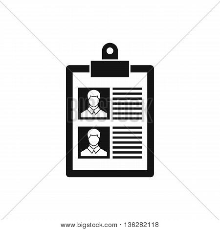 Resume of two candidates icon in simple style isolated on white background