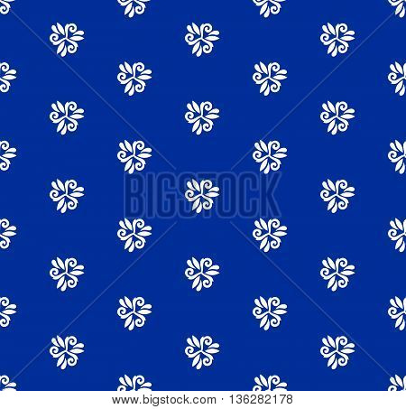 Floral vector ornament. Seamless abstract classic pattern with flowers. Navy blue and white pattern