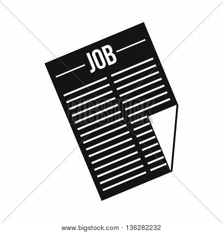 Newspaper with the headline Job icon in simple style isolated on white background