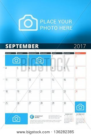 September 2017. Wall Calendar Planner Template For 2017 Year. Vector Design Print Template With Plac