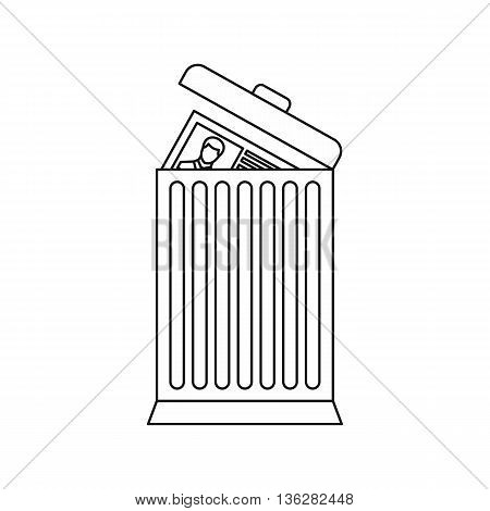 Resume thrown away in the trash can icon in outline style isolated on white background