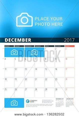 December 2017. Wall Calendar Planner Template For 2017 Year. Vector Design Print Template With Place