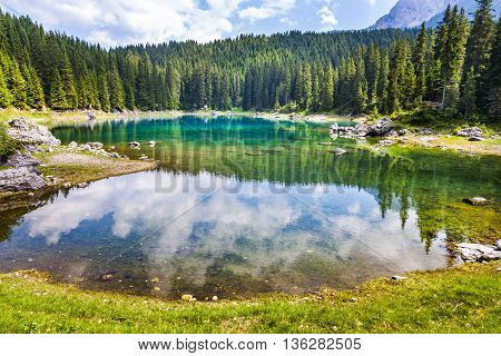 Karersee Lake At Dolomites In Latemar