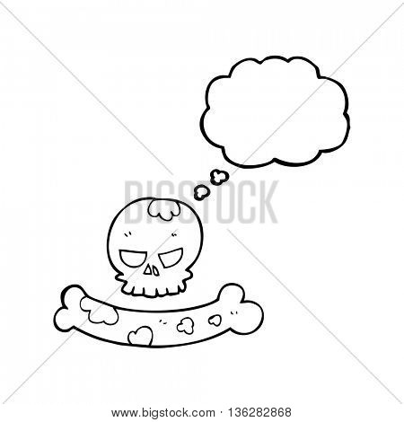 freehand drawn thought bubble cartoon skull and bone symbol