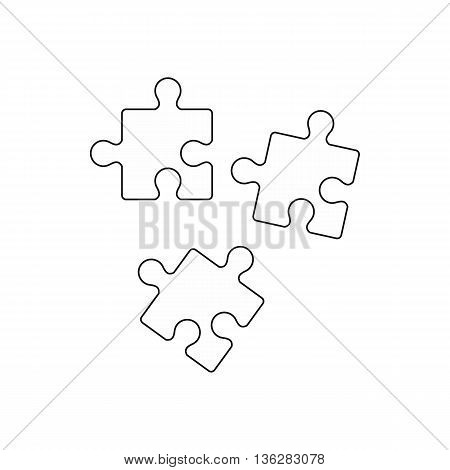 Puzzle icon in outline style isolated on white background