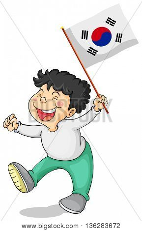 Little boy and South Korea flag illustration