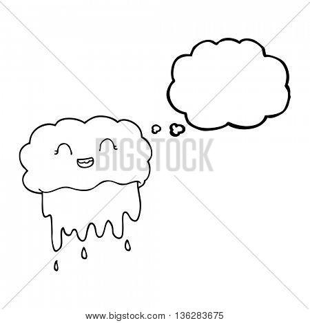 freehand drawn thought bubble cartoon rain cloud