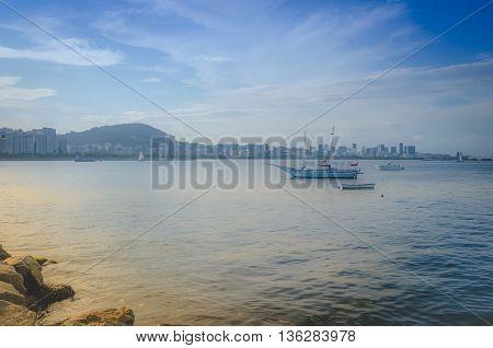 RIO DE JANEIRO RJ BRAZIL - MAR 05 2016: Boat at port of Urca. Urca is a district in Rio de Janeiro city.
