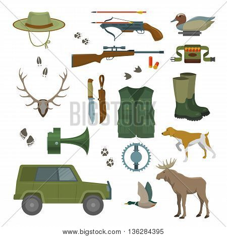 Hunter set of wild animals and birds. hunter set with jeep and bandolier and hunter equipment and accessories. Isolated vector illustration