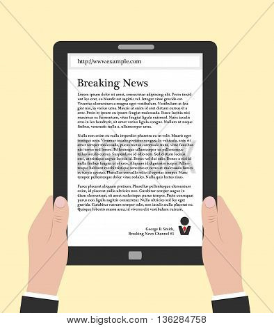Hands holding electronic book or smart-phone flat design concept. Using e-book eps 10 vector illustration. Man reading news online. Person in suit holding tablet or smart phone with text on it.