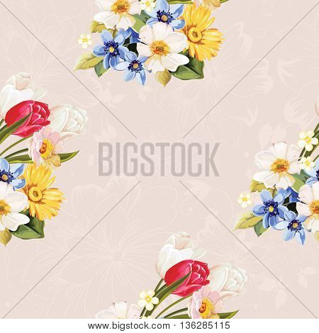 Seamless floral pattern white and tulip Vector Illustration EPS8