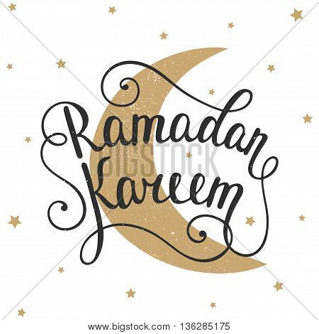 Ramadan Kareem greeting card design template with modern calligraphy golden moon and small stars in vintage style. Handwritten lettering. Hand drawn vector design elements. Muslim holy month.