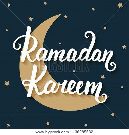 Ramadan Kareem greeting card design template with modern calligraphy golden moon on blue background in vintage style with small stars. Handwritten lettering. Hand drawn design elements.