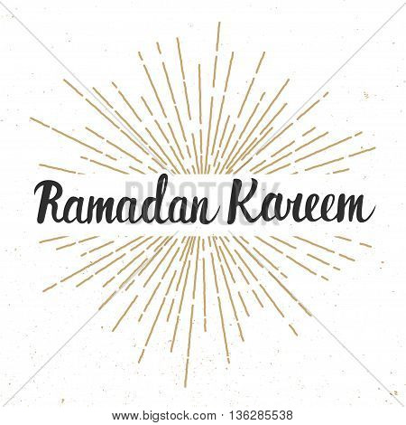 Ramadan Kareem greeting card design template with modern calligraphy and sunburst in vintage style. Handwritten lettering. Hand drawn vector design elements. Muslim holy month.
