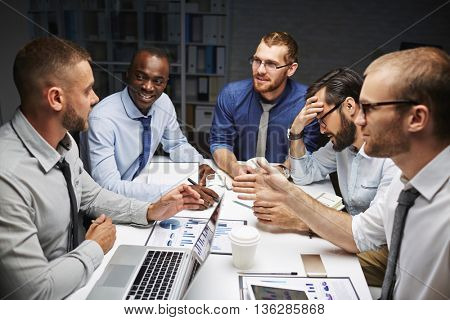 Discussing data in office