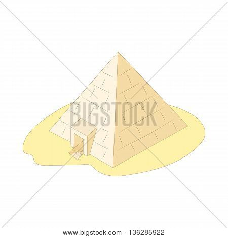 Pyramid of Giza, Egypt icon in cartoon style on a white background