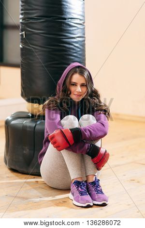 Sport Women Kickboxing Workout Break Portrait Self Defence Punching Bag Lifestyle Concept