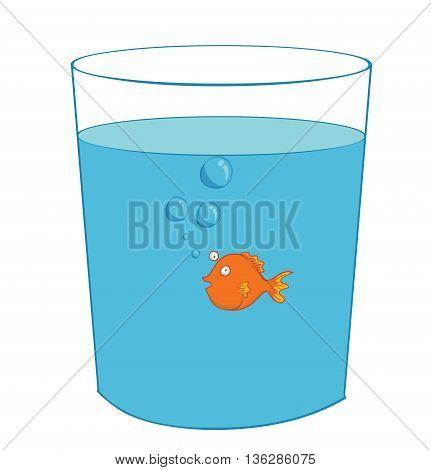 illustration of a fish inside a glass