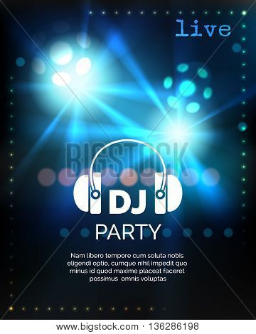 Vector dj party blue poster template. Vector illustration
