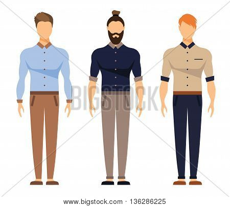 Men in office clothes. Casual Outfit, Business office clothes, Hipster Style. Vector Flat Illustration. Designer, Architect, , Illustrator at the Office Set