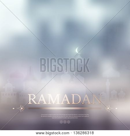 Ramadan Kareem islamic background with Lamp and silhouette mosque. Arabic vector  abstract background for Ramadan Kareem. Silhouette mosque, text, light, blur and bokeh