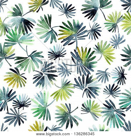 Watercolor painted trees foliage. Leafy seamless pattern.