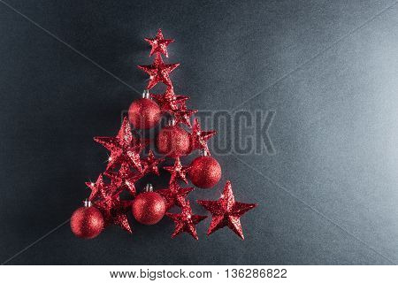 Christmas Tree Shape With Red Stars And Baubles