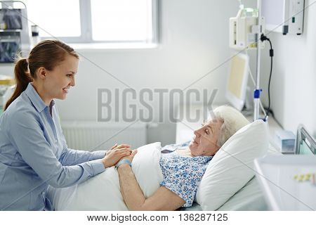 Visiting grandmother in hospital