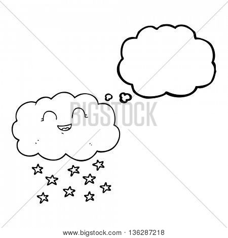 freehand drawn thought bubble cartoon cloud snowing
