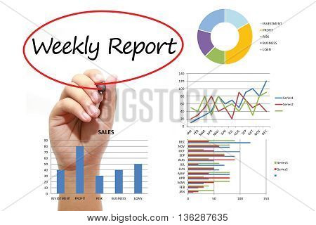 Businessman writing Weekly Report in red circle on virtual screen. Business banking finance and investment concept.