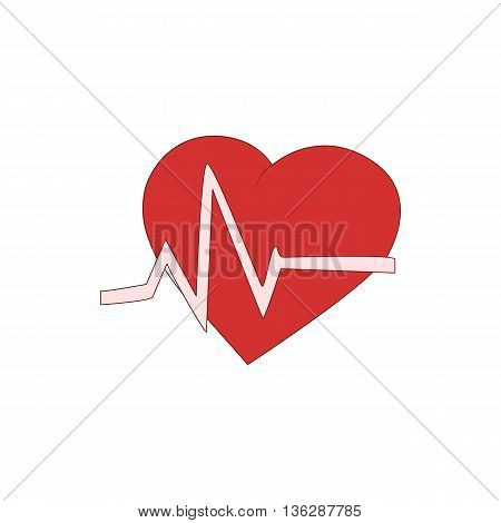 Heart beats icon in cartoon style isolated on white background. Health symbol