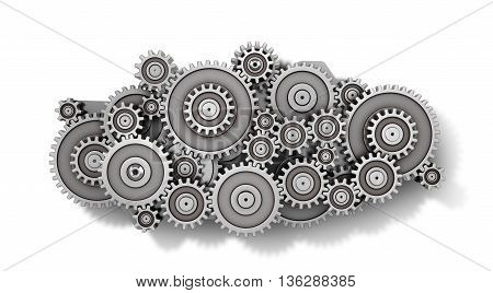 Concept of work. Mechanism of gears in form of cloud isolated on a white background. 3d illustration