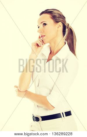 Beautiful young student,business woman thinking.