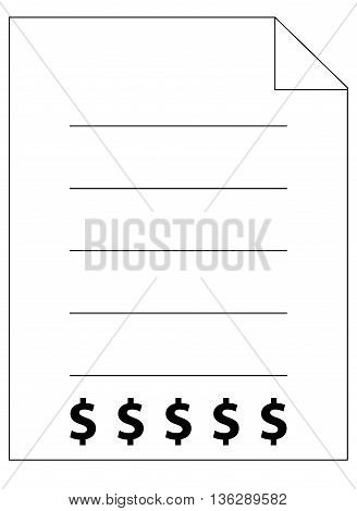 Medical Bill Icon design element isolated on white digitally generated