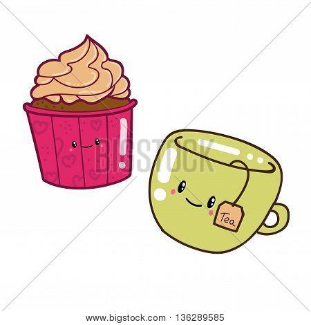Cute doodle cartoon hand drawn. Cup cake and tea