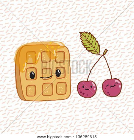 Cute doodle cartoon hand drawn illustraion waffles and cherries