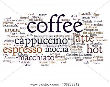 Vector concept conceptual creative hot coffee, cappuccino or espresso abstract word cloud isolated on background