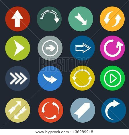 Color round arrow vector icons. Set of arrows directional, arrow pointer in color circle illustration