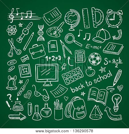 School icons. Hand drawn education and school symbols and doodles on green schoolboard