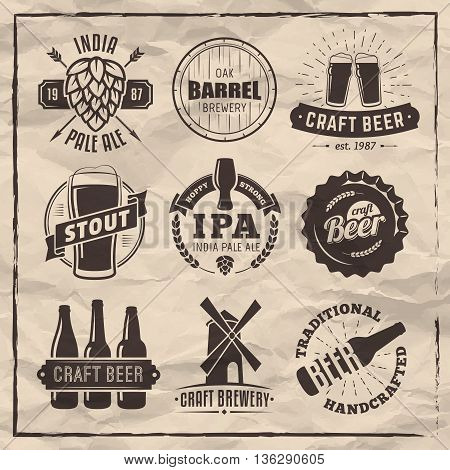 Vector craft beer badges. Retro beer labels on vintage paper background