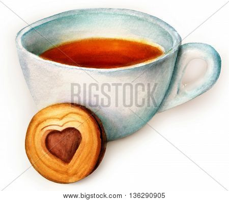 A hand painted watercolor drawing and photo digital collage of a cup of tea with a cookie with heart-shaped chocolate filling inside on white background