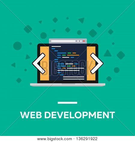 Flat web development notebook vector illustration code