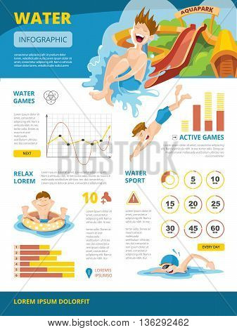 Vector illustration of infographics about water games. symbols and charts. Infographic with place for your text