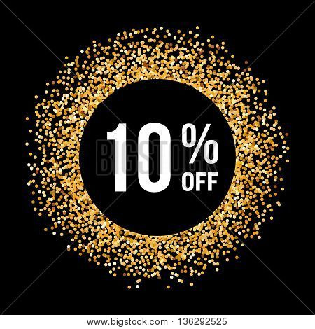 Golden Circle Frame on Black Background with Text Ten Percent Off